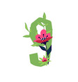 number 9 in flowers and plants number in vector image vector image