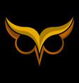 owl bird logo with big eyes and eyebrows in black vector image vector image