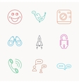 Phone call chat speech bubble and photo icons vector image vector image