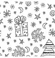 seamless pattern set new year symbol on white vector image vector image