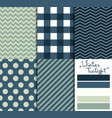 set 5 simple seamless geometric patterns vector image