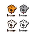 set faces cartoon bear vector image