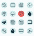 set of 16 internet icons includes team local vector image vector image