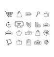 set of shopping online icons vector image