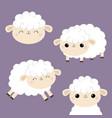 sheep lamb face head icon set cloud shape jumping vector image vector image