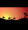 silhouette caravan mit people and camels vector image