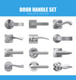 silver door handle collection vector image vector image