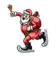 skating santa claus with a bell vector image vector image