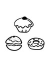 sufganiyot doodle icon on white background vector image vector image