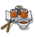 sushi with sauce vector image
