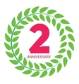 Template Logo 2 Anniversary in Laurel Wreath vector image vector image