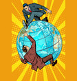 two people fighting on the planet earth vector image