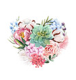 watercolor floral heart composition vector image