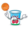 with basketball yogurt character cartoon style vector image vector image