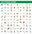 100 force icons set cartoon style vector image vector image