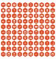 100 loader icons hexagon orange vector image vector image