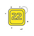 22 date calender icon design vector image