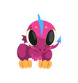 adorable violet dragon with big eyes little wings vector image