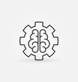 ai brain in gear concept outline icon or design vector image vector image