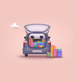 an opened car trunk filled with gift boxes 3d web vector image vector image