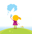 artist kid painting on sky vector image vector image
