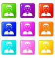 asian man icons 9 set vector image vector image