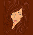 beautiful face of a brunette girl in wavy hair vector image