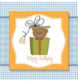 birthday greeting card with teddy bear vector image vector image