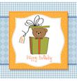 birthday greeting card with teddy bear vector image vector image
