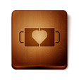 brown two coffee cup and heart icon isolated on vector image vector image