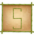capital letter s made of green bamboo sticks on vector image vector image