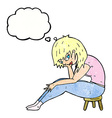 cartoon woman sitting on small stool with thought vector image