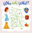 childish animal food puzzle maze template vector image