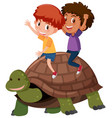 children riding a turtle vector image vector image
