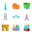 city network icons set cartoon style vector image