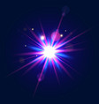 colorful glow light beam in blue and violet colors vector image