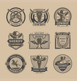 cowboy vintage isolated label set vector image