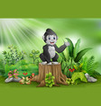 cute baby gorilla standing on tree stump with gree vector image vector image