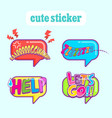 cute balloon talk sticker vector image