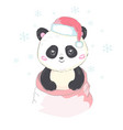 cute panda in santas hat in red bag with gifts vector image