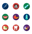 Dental care set icons in flat style Big vector image vector image