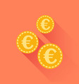 euro coins icon in flat style gold yellow coin on vector image