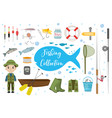 fishing icon set flat cartoon style fishery vector image vector image