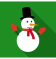 Fun Snowman in Flat Style with Long Shadows vector image vector image