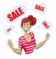 girl is happy about the sale vector image vector image