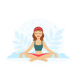 girl sitting and meditating in yoga lotus position vector image