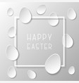 happy easter frame with paper origami eggs vector image