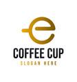 initial letter e o coffee cup modern logo ideas