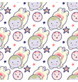 kawaii cat astronaut in space seamless pattern vector image vector image