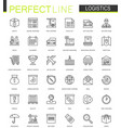 logistics thin line web icons set transportation vector image vector image